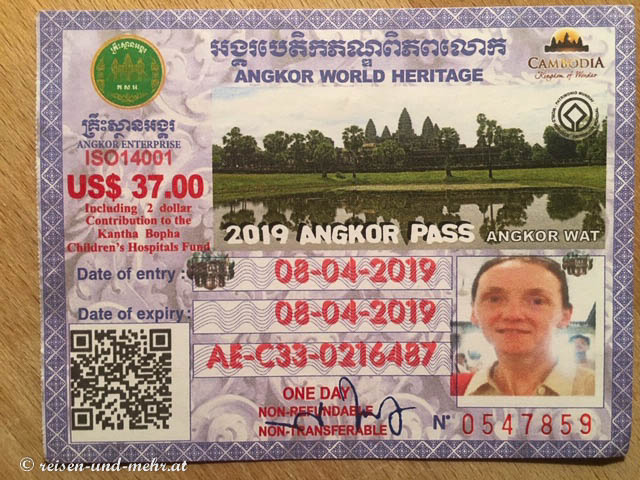 Eintrittskarte für Angkor, Siem Reap, Kambodscha