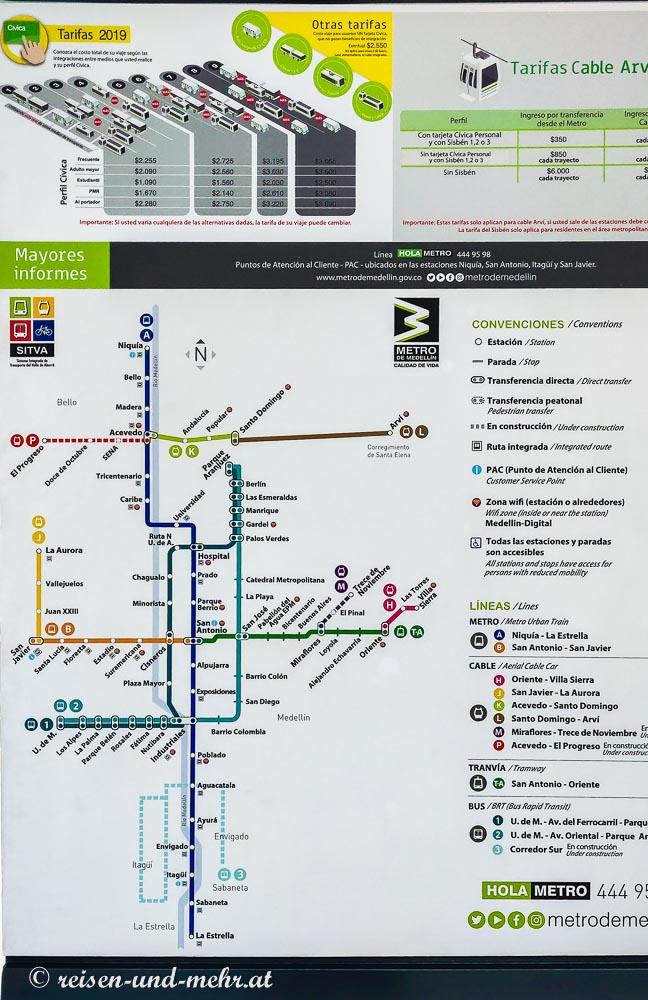 Metroplan von Medellin